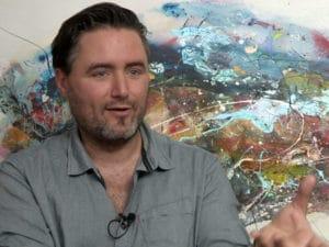 Poet Jaume Muñoz talks to the Catalunya Barcelona film team