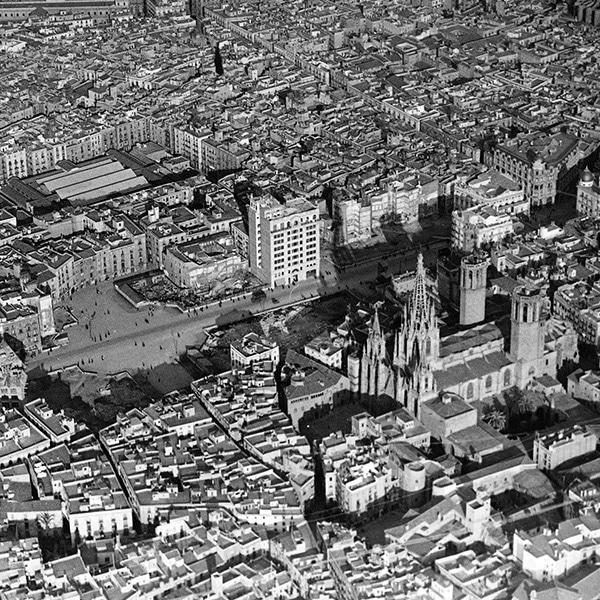 Bird's eye view of Barcelona for Catalunya Barcelona docuseries