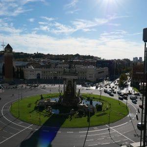 catalunya barcelona view of plaça espanya in barcelona