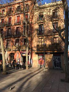 Barcelona's Plaça de la Virreina at sunset