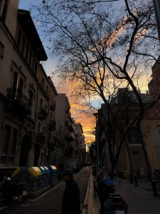 beautiful sunset beside Barcelona's Plaça de la Virreina