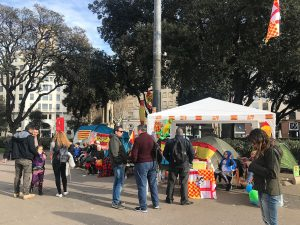 Pro-independence kiosk set up in Plaça de Catalunya