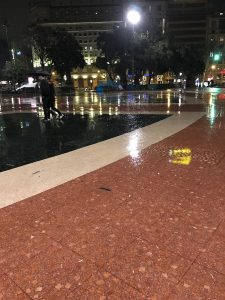 Rainy night on Plaça de Catalunya