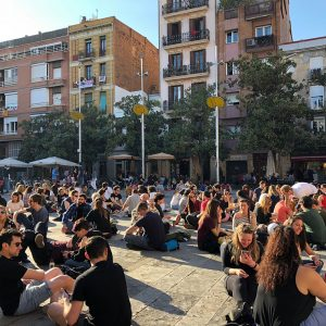 Plaça del Sol Barcelona young people sitting on square