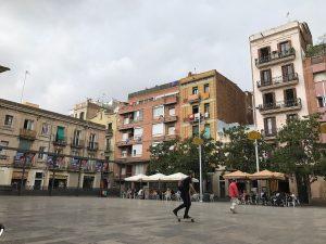 Man on skateboard in morning at Plaça del Sol in Barcelona
