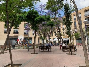 View of Barcelona's Placa de John Lennon