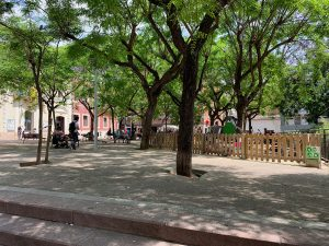 View of playground at Barcelona's Plaça del Nord.
