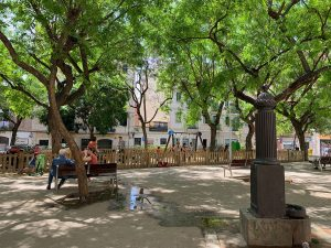 Playground and water fountain at Barcelona's Plaça del Nord.