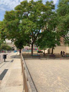 view of playground in Barcelona's Plaça del Poble Romaní.