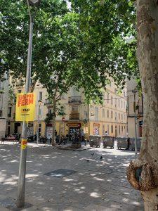 CUP party sign on Barcelona's Plaça del Raspall.