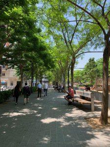 Sidewalk at Barcelona's Plaça Lesseps.