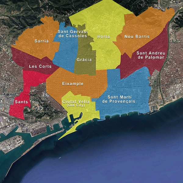 Catalunya Barcelona map of the different Barcelona districts