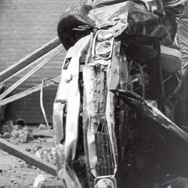 Carrero Blanco's car wrecked after a bomb explosion.