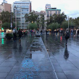 Plaça de la universitat barcelona on a rainy day