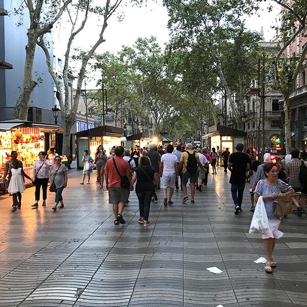 Photo of Las Ramblas, Barcelona at dusk.