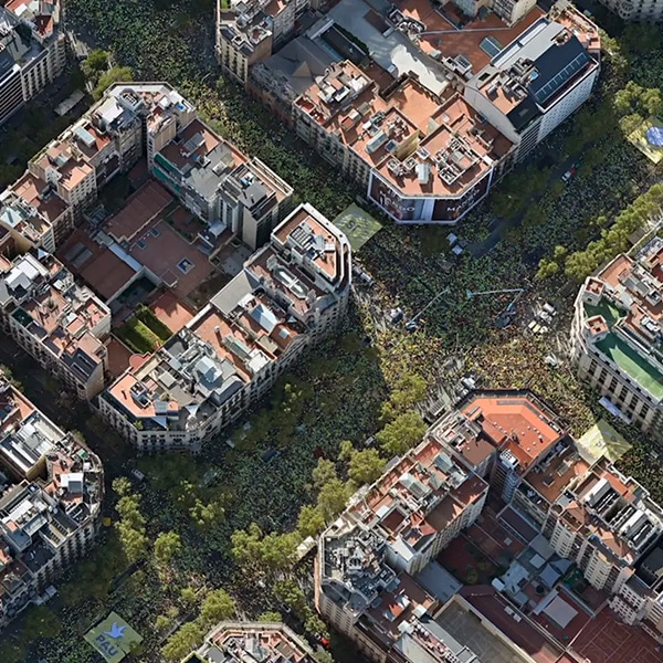 Bird's eye of eixample during massive protest