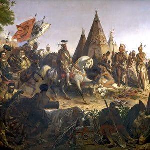 Painting depicting Spanish Invasion of America used in Catalunya Barcelona film