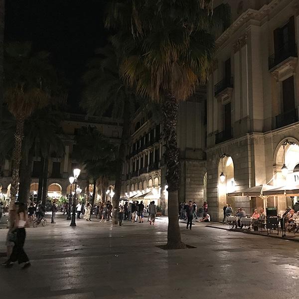 Barcelona's Plaça Reial at night.