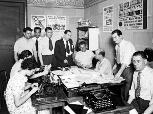 1936 - Press office of the People's Olympiad, or Olimpiada Popular which was to be held in Barcelona