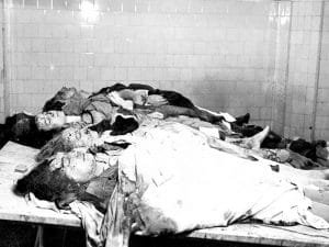 1937 - Victims of a Barcelona bombing during the Spanish Civil War.