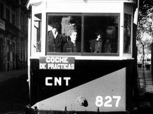 1936 - Woman working as tram operator in Barcelona during Spanish Civil War.