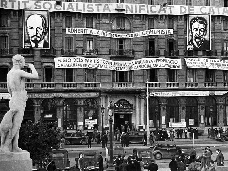 1936 - Plaça Catalunya, the office of the PSUC, or Party of Socialist Unification of Catalunya