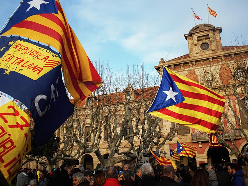2016 - Demonstration in front of the Catalan Parliament building in Barcelona.