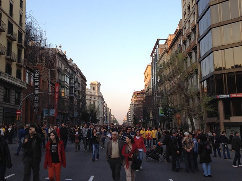 2011 - Protesters march down Carrer d'Arago in Barcelona.