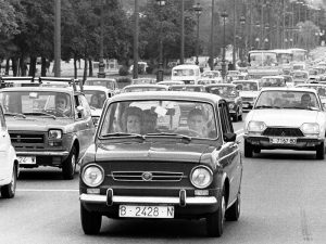 1975 - Cars heading down Diagonal over Easter.