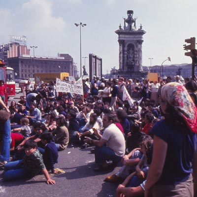 Protesters in Barcelona during the early 1980s