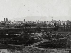 1870 - View of Barcelona. In the foreground the wall of land and the orchards in foreground.