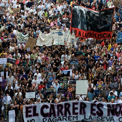Protesters in Barcelona in the 2000s