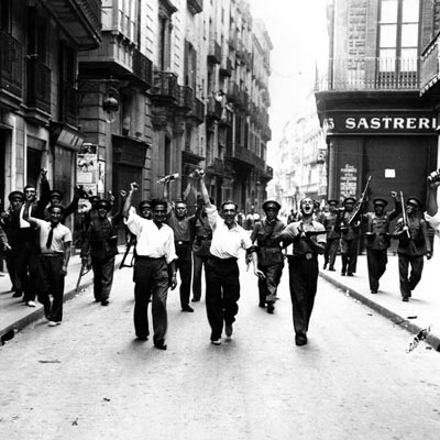 Local Barcelona workers marching the street during the Spanish Civil War