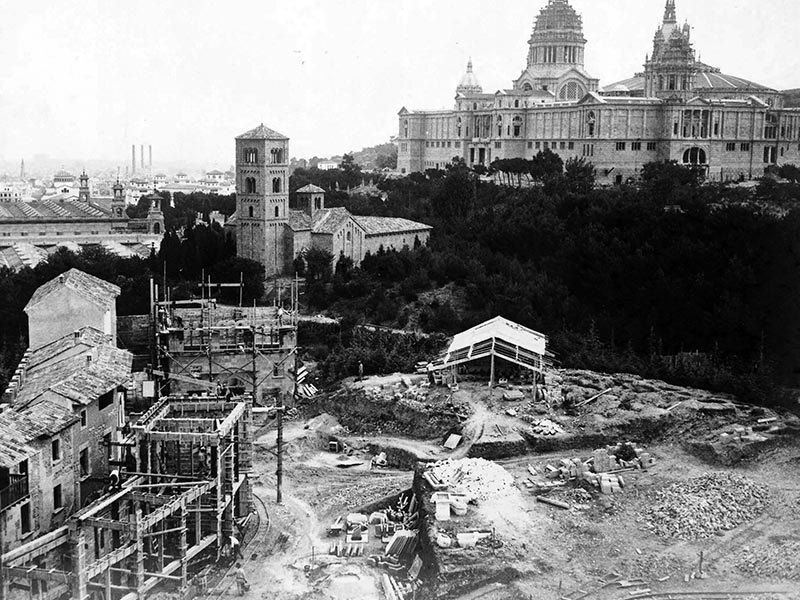 Construction in preparation for the Barcelona International Exposition of 1929.