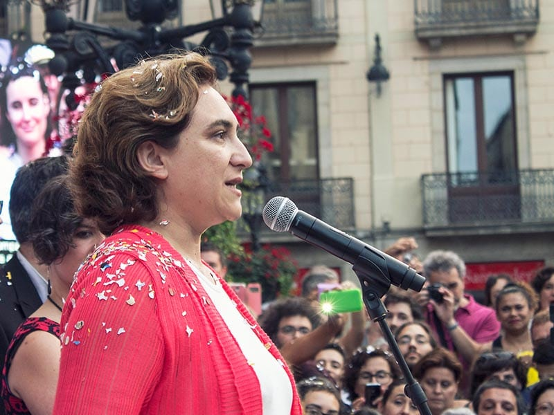 2015 - Ada Colau speaking in Barcelona after her investiture as mayor of the city.