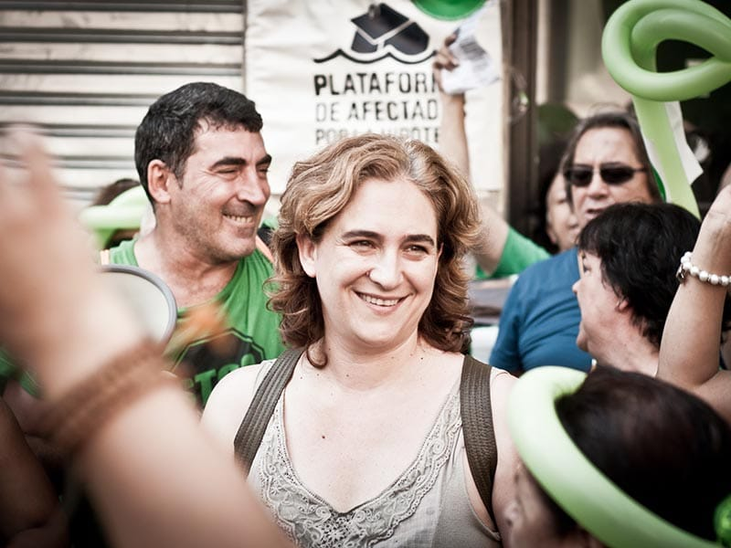 Ada Colau during a PAH (Platform for People Affected by Mortgages) demonstration.