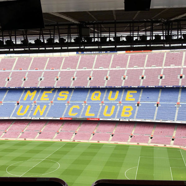 Barça's Camp Nou with Catalan of More than a Club.