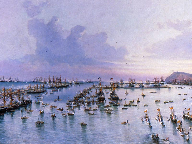 Boats gathered in Barcelona port to celebrate the 1888 Barcelona Exposition.