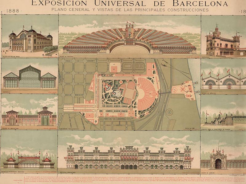 General plan and illustrations of the main buildings of the 1888 Barcelona Universal Exposition.
