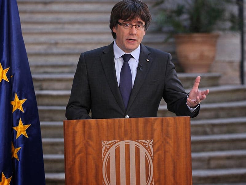 2017 - Carles Puigdemont giving a press conference.