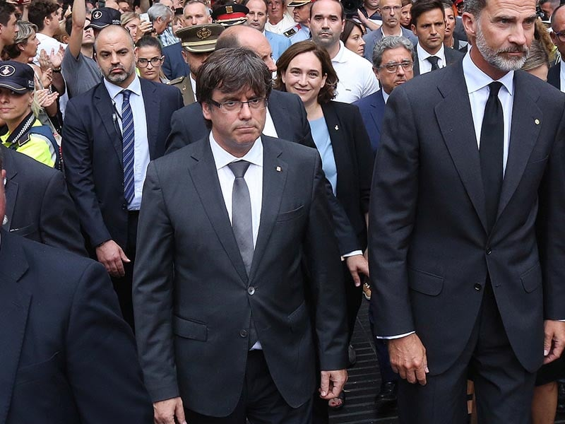 2017 - Carles Puigdemont in procession commemorating the terrorist attack in August.