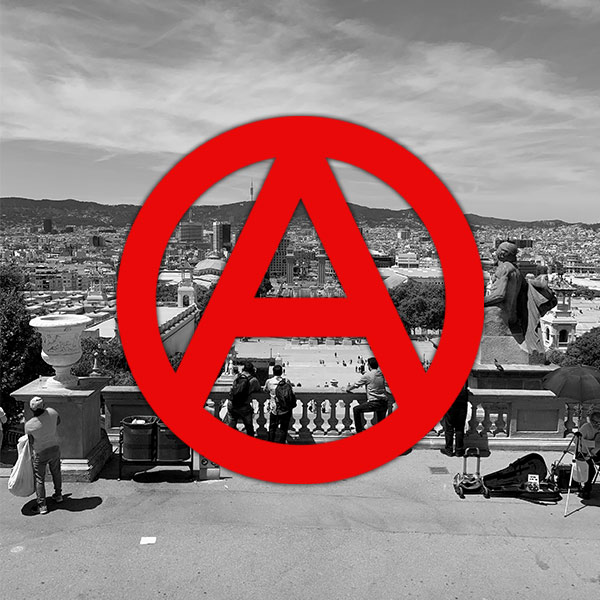 Anarchism logo with city of barcelona in background