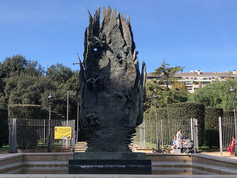 Monument to Pau Casals in Barcelona at entrance of Parc del Turó