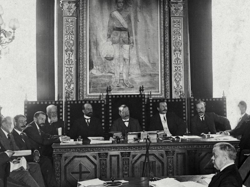 Meeting of the four Catalan councils at the Palau de la Diputació to approve the rules of the Commonwealth.